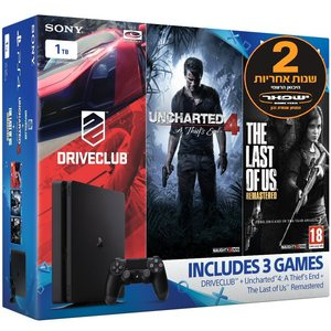 PS4 Slim 1TB 3 Game Mega Bundle יבואן רשמי Sony