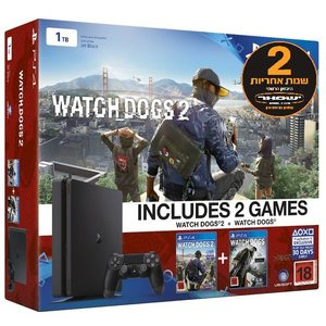 PS4 SLIM 1T Watch Dogs Bundle אחריות יבואן רשמי  Sony