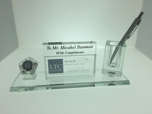 PEN & CLOCK SET - CRYSTAL AWARD