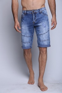 Canavaro medium blue stone washed Short jeans with scratches