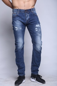 Canavaro medium blue stone washed skinny jeans with front marks