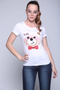 Simply Ice white shirt with teddy bear patch