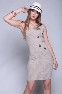 Simply ice light brown rib dress with patches