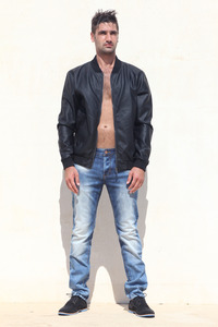 blanc leather jacket Canavaro