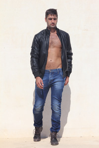 leather jacket strips shoulders Canavaro