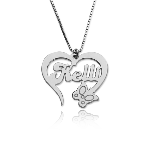 Sterling silver heart and butterfly name necklace name necklaces sterling silver heart and butterfly name necklace aloadofball Choice Image