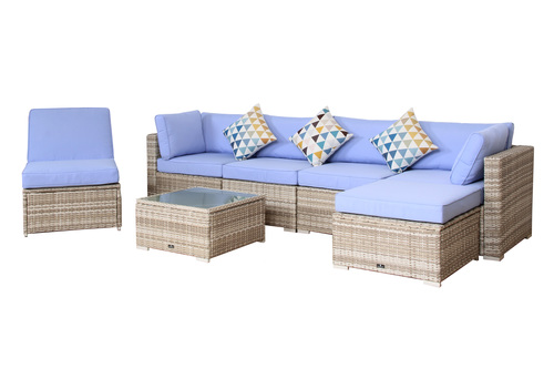 ... BroyerK 7 Pcs Outdoor Rattan Set Lounge Sofa Wicker Sectional Garden  Patio Furniture ...