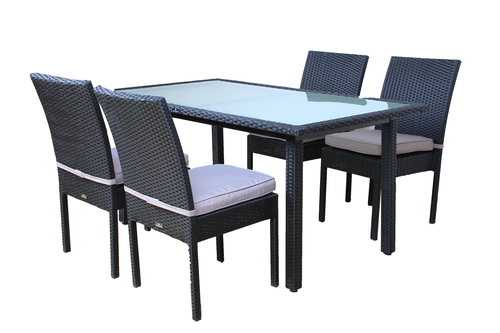 ... BroyerK Outdoor Dining Set Glass Table And Four Patio Furniture Chairs  ...